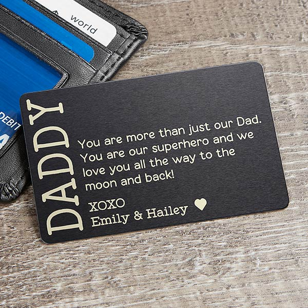 Metal Wallet Card for Dad Aluminum Fathers Day Card Engraved Wallet Inserts for Dad
