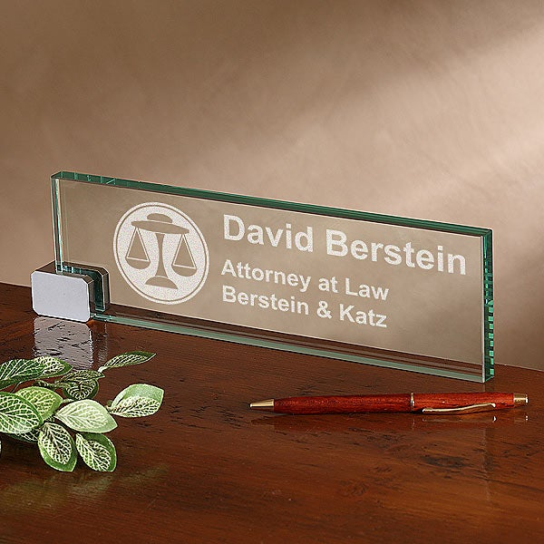 Personalized Glass Desk Nameplate Legal Design