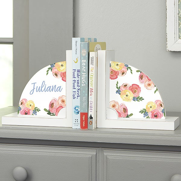 Floral Baby Personalized Bookends