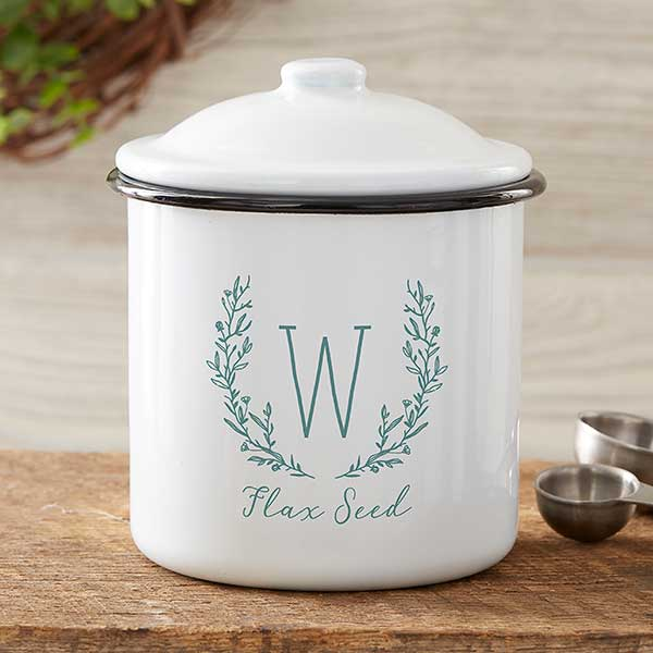 Farmhouse Floral Personalized Enamel Small Kitchen Canister