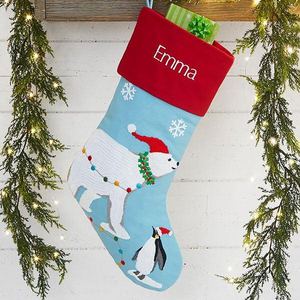 Bear Christmas Stocking.Modern Polar Bear Personalized Christmas Stocking