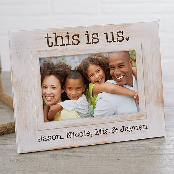 This Is Us Engraved Whitewashed Picture Frame