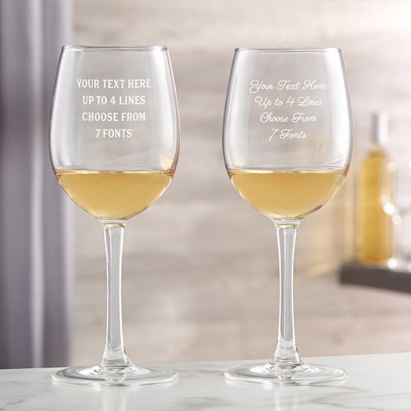 Choose Type of Glass Red or White Wine Personalized Stemless Wine Glasses Engraved with Bridal Party Designs