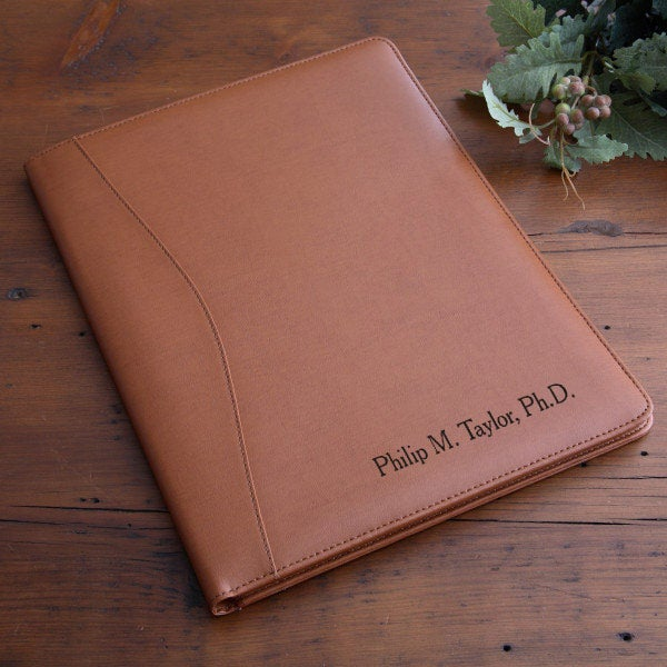 ee368a20eb16 Personalized Executive Leather Portfolio - Tan - 2448