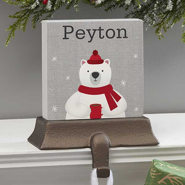 Wintry Cheer Polar Bear Personalized Stocking Holder Christmas Clearance