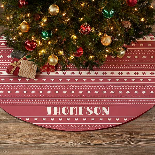 Nordic Noel Personalized Christmas Tree Skirt