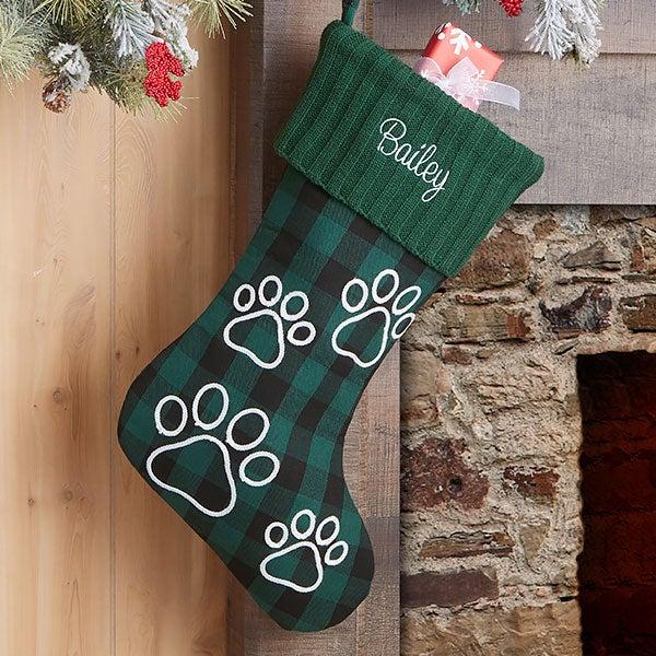 Dog Christmas Stocking.Buffalo Check Paw Prints Personalized Green Dog Christmas Stocking