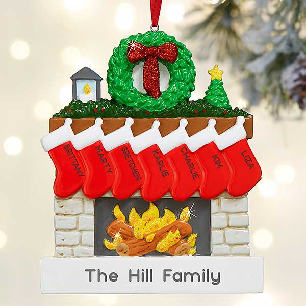 Christmas Ornaments With Names On Them.Family Fireplace Personalized Christmas Ornament 7 Name
