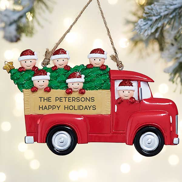Vintage Red Truck Christmas Decor.Vintage Red Truck Personalized Ornament 6 Family Characters