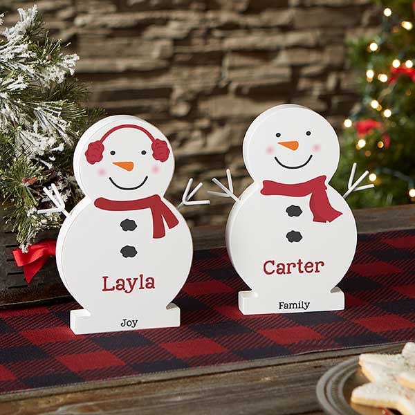Snowman Family Personalized 7 5 Inch Wooden Snowman Christmas Clearance