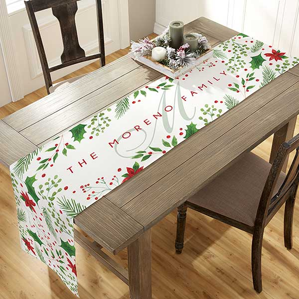 Christmas Table Runners.Holly Berry Personalized Christmas Table Runner 16x60