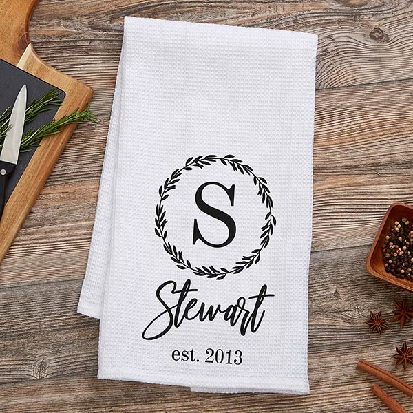 Laurel Monogram Personalized Waffle Weave Kitchen Towel