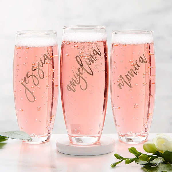Champagne flutes custom bridesmaid glasses custom gifts Stemless Champagne Flutes