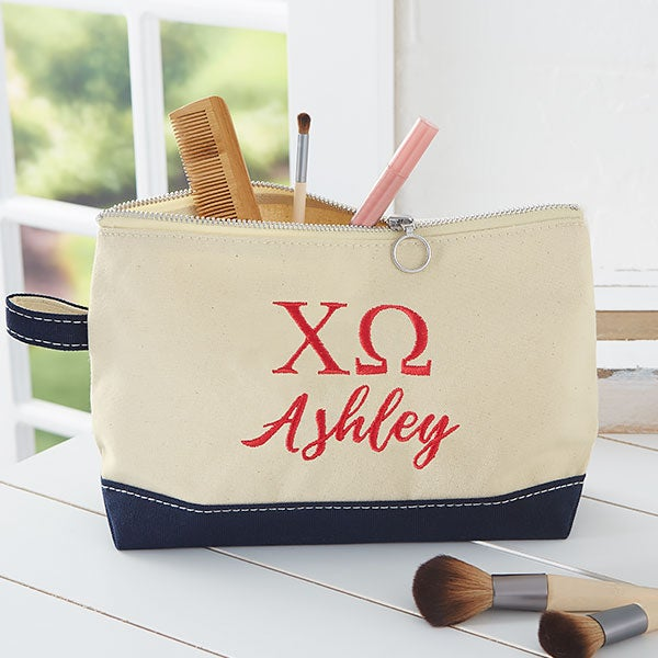 Chi Omega Personalized Makeup Bags