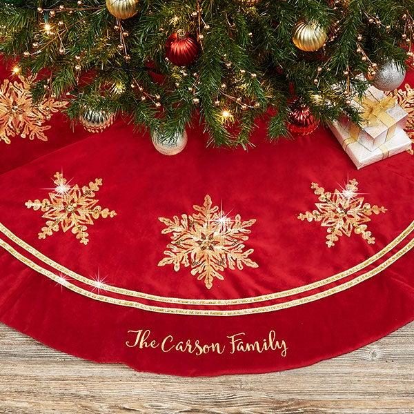 Decor Custom Christmas Tree Skirt Seasonal Family Name Fleece Kids Holidays Snowflakes Personalized Year First Christmas Gift 44