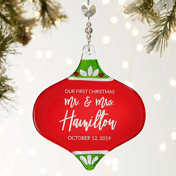 First Christmas.First Christmas Personalized Metallic Red Wedding Ornament