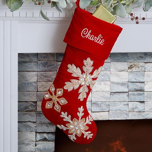 Red Velvet Christmas Stockings.Holiday Glam Personalized Red Velvet Christmas Stocking