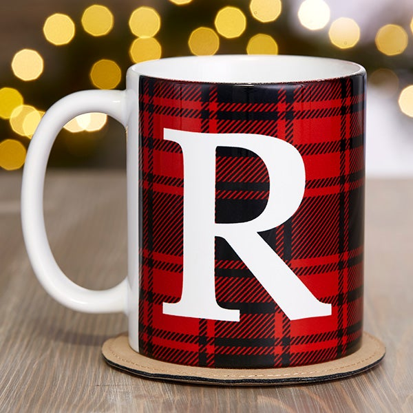 Christmas Coffee Mugs.Christmas Plaid Personalized Coffee Mug 11 Oz White