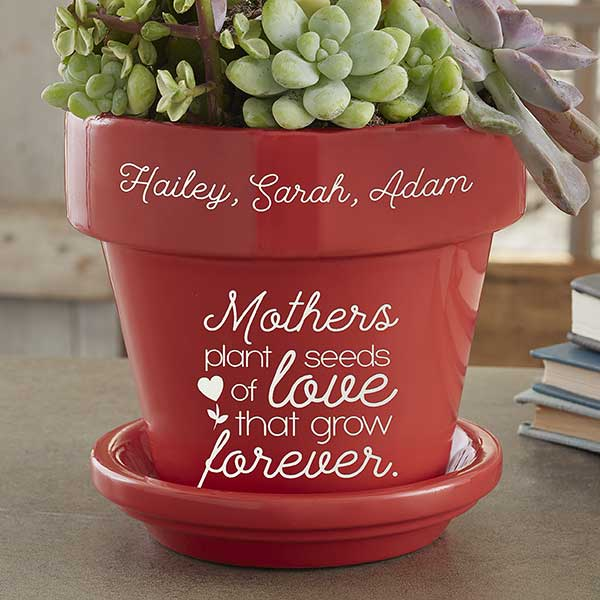 My Dear Mom from Love Son Wooden Engraved Flower Pot Anniversary Birthday Mothers Day Gift Plant Lover Planter Holder Container