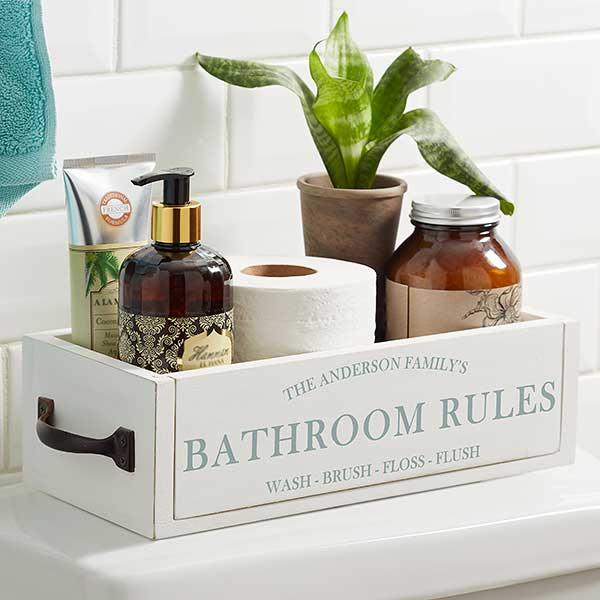 Family Market Personalized Decorative Bathroom Wood Storage Box