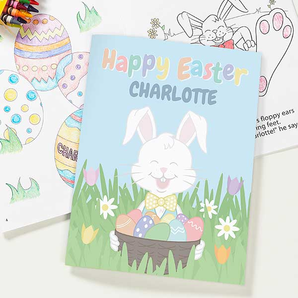 Personalized Easter Bunny Coloring Book & Crayon Set