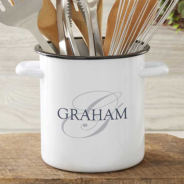Heart of Our Home Personalized Enamel Kitchen Utensil Holder