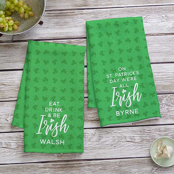 Bath Robes with Personalised name IRISH CLOVER design Embroidered onto Towels