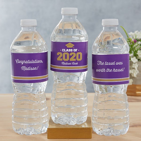Class Of Personalized Graduation Water Bottle Labels