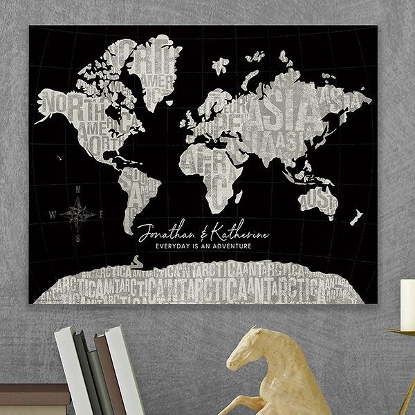 Modern World Black Map Personalized Canvas Tile Board - 16x20 on world maps history, world maps religion, old world map sale, world maps france, world maps software, world map globe sale, world maps games, world maps art, world maps furniture, world maps books,