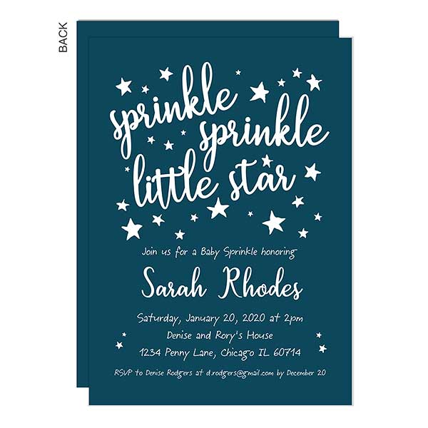 BABY VEST Personalised Thank You Cards SPRINKLE PARTY Blue BOY BABY SHOWER