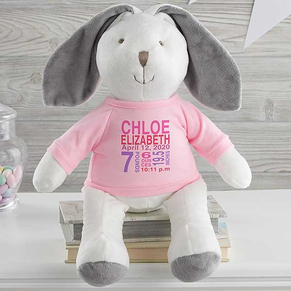 Personalized Baby Stuffed Animals, All About Baby Personalized Birth Stats Stuffed Animal Bunny