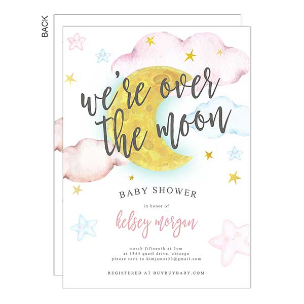 Over The Moon Personalized Baby Shower Invitations