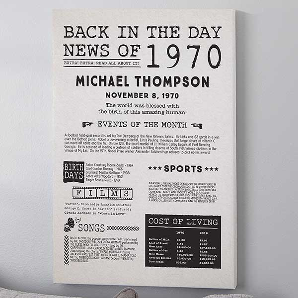 Personalised Unique Gift for Baby /& Birthday Day You Were Born History Print