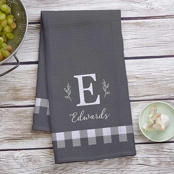 Black White Buffalo Check Personalized Waffle Weave Kitchen Towel