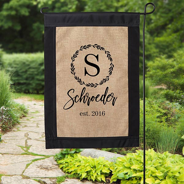 Personalized Burlap Garden Flag with bow