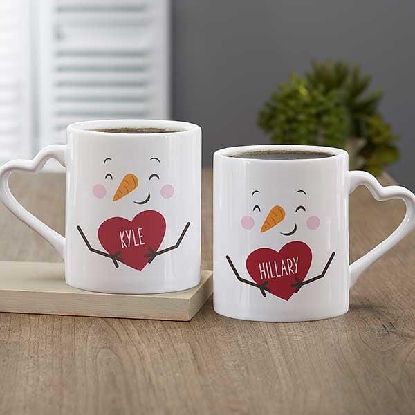 Snow Couple Personalized Christmas Coffee Mug Set