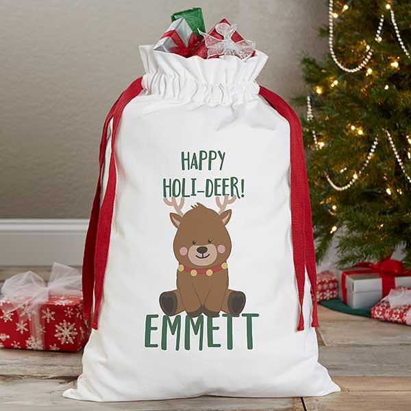 Cute Personalised Girls Pink Christmas Eve Reindeer Bag Special Treat Sack