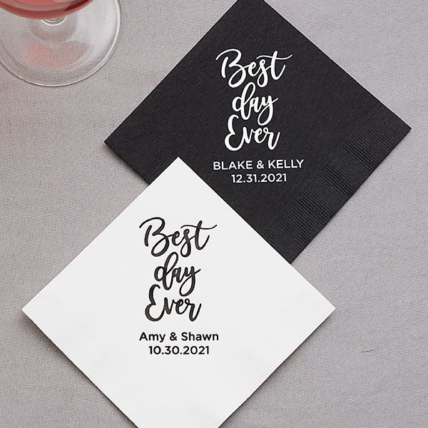 Luxury Cocktail Beverage Napkins Best Day Ever Personalized Elegance Wedding Cocktail Napkins