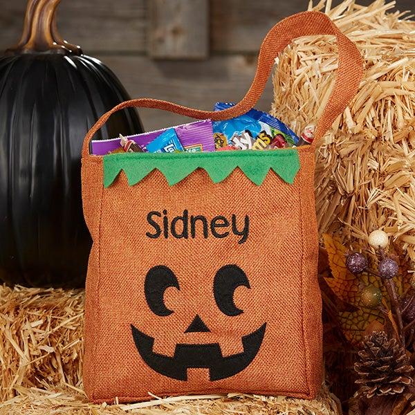 Jack O Lantern Personalized Burlap Small Halloween Treat Bag