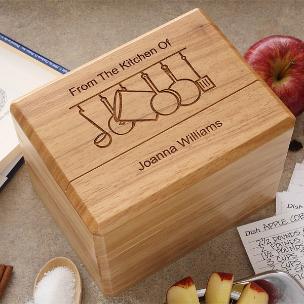 engraved wooden recipe box and recipe cards from the kitchen of