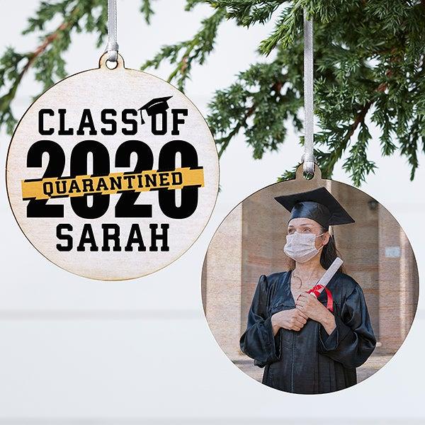 Graduation Christmas Ornament 2020 Quarantined 2020 Graduation Personalized Ornament   2 Sided Wood