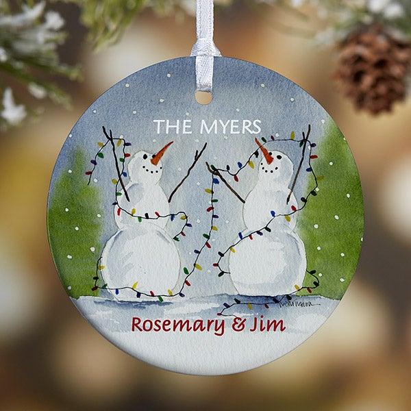 Personalized Snow Couple Porcelain Christmas Ornament - 3333