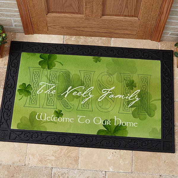 Personalized Traditional Irish Saying Door Mat - Cead Mile Failte - 3346