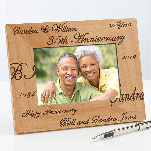 Engraved Wood Anniversary Picture Frame Forever Always