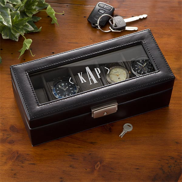 3901 leather 5 slot personalized watch box for Jewelry box with initials