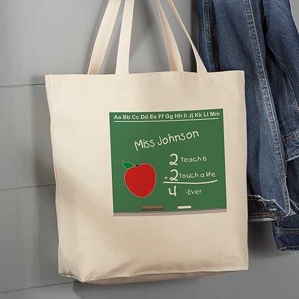 Custom Teacher Tote Customized Teacher Tote Personalized Teacher Tote Bag Apple Chalkboard Monogrammed Teacher Tote Bag