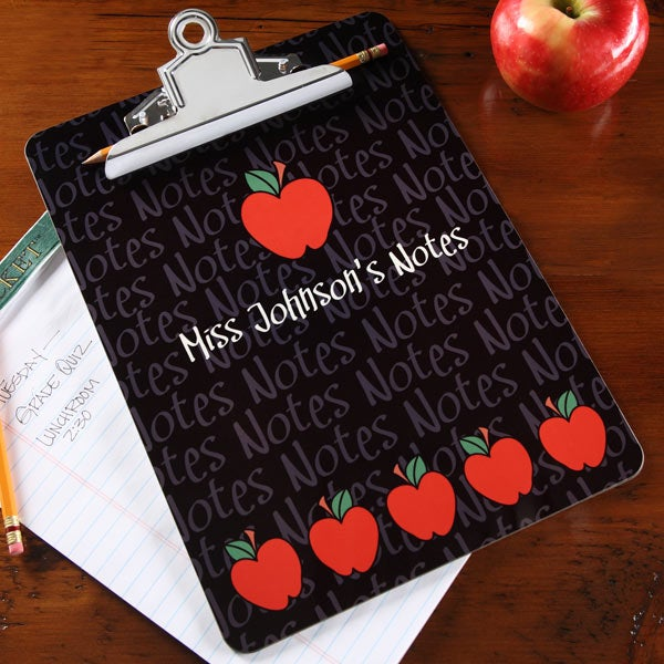 Personalized Teacher Clipboard - Black With Red Apples - 4042