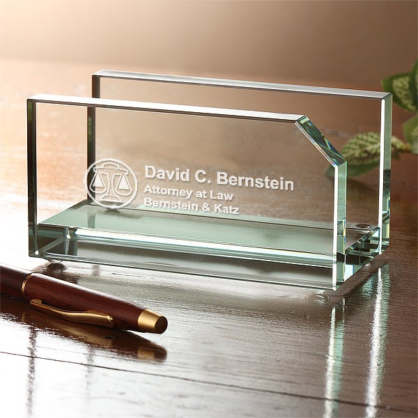 Personalized Glass Business Card Holder - Legal Design - 4115