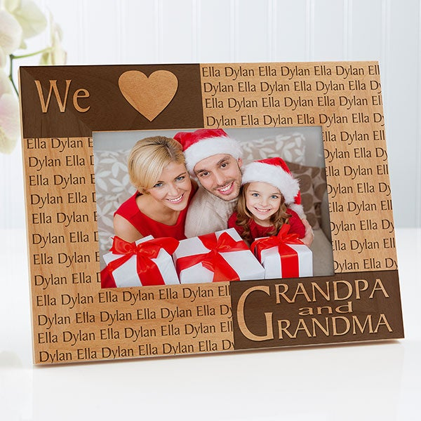 Personalized Wood Picture Frame - Loving Hearts Design - 4123