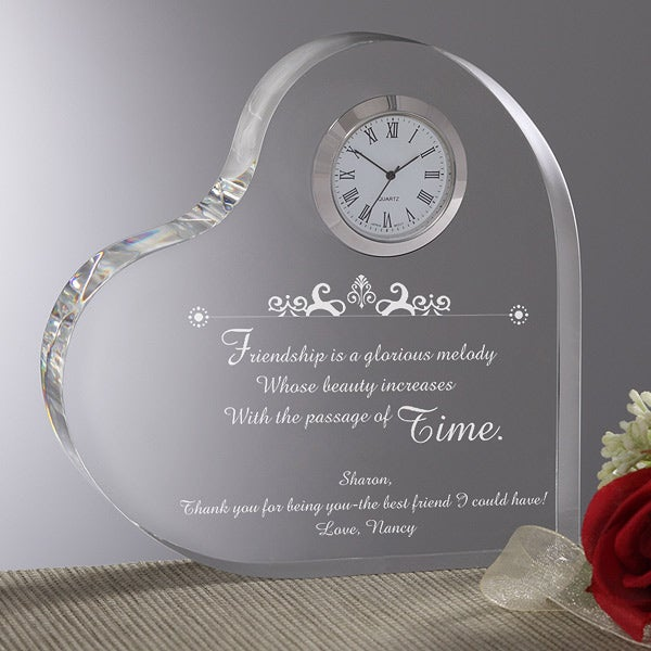 Personalized Heart Shaped Clock With Friendship Verse